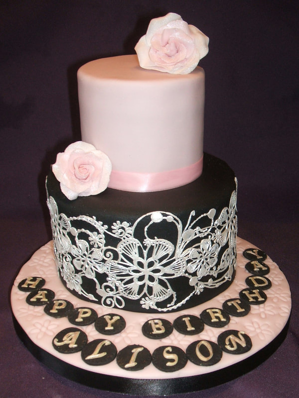 Elegant 2 Tier Cake Embellished With Edible Lace Price From 125 Depending On Size